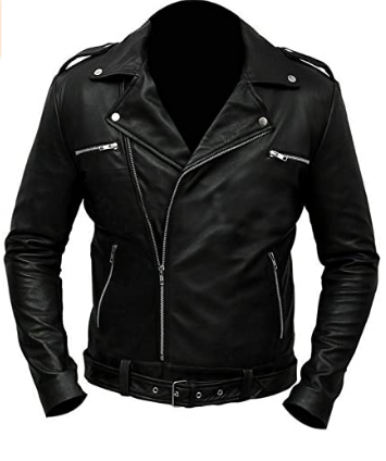 Brando Jeffrey Dean Morgan Negan Walking S7 Black Motorcycle Leather Biker Jacket