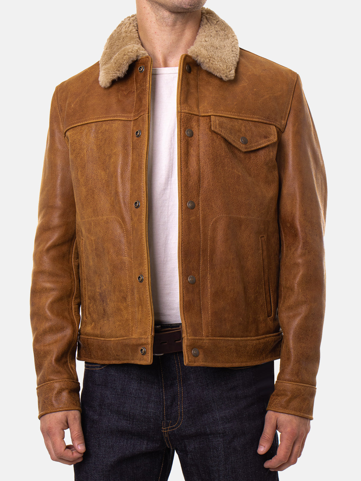 Brown Leather Men's Trucker Jacket