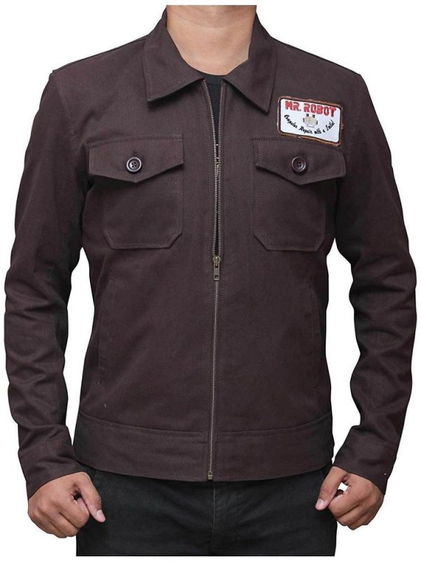 CHRISTIAN SLATER MR ROBOT BROWN JACKET