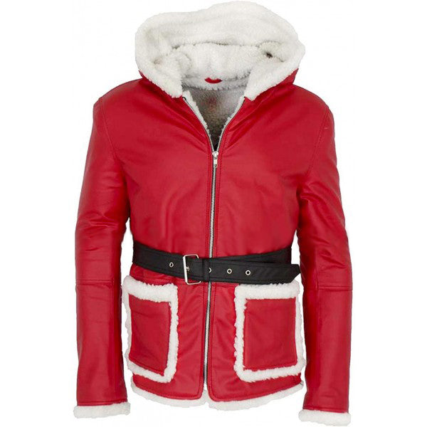 CHRISTMAS SANTA MEN'S OUTFITS RED LEATHER COAT