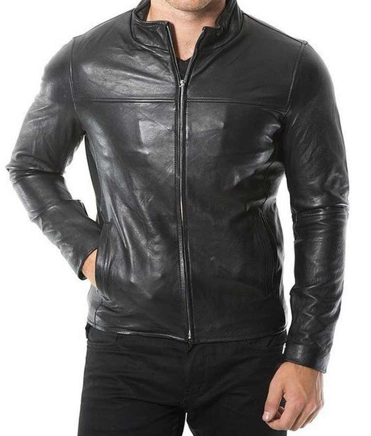 Café Racer Black Leather Jacket