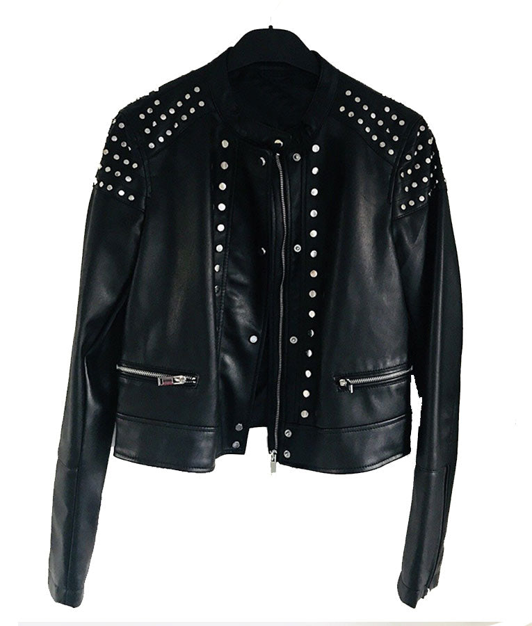 Cafe Racer Black Studded Leather Jacket