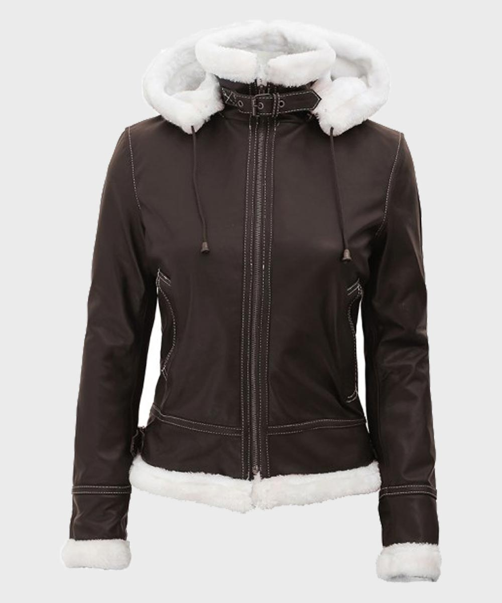 Dark Brown Womens Shearling Jacket