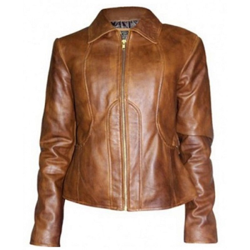 Distressed Brown Jennifer Lopez Leather Jacket