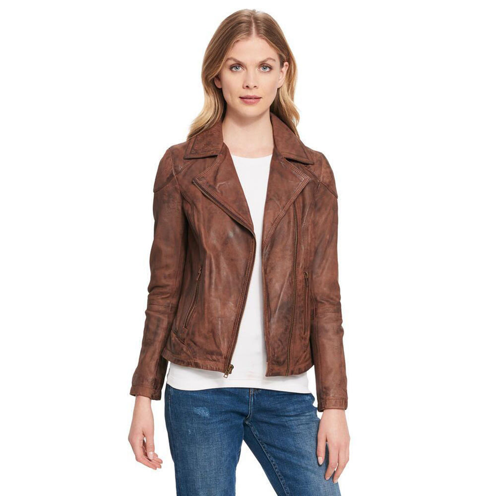 Womens Brown Asymmetrical Distress Leather Jacket