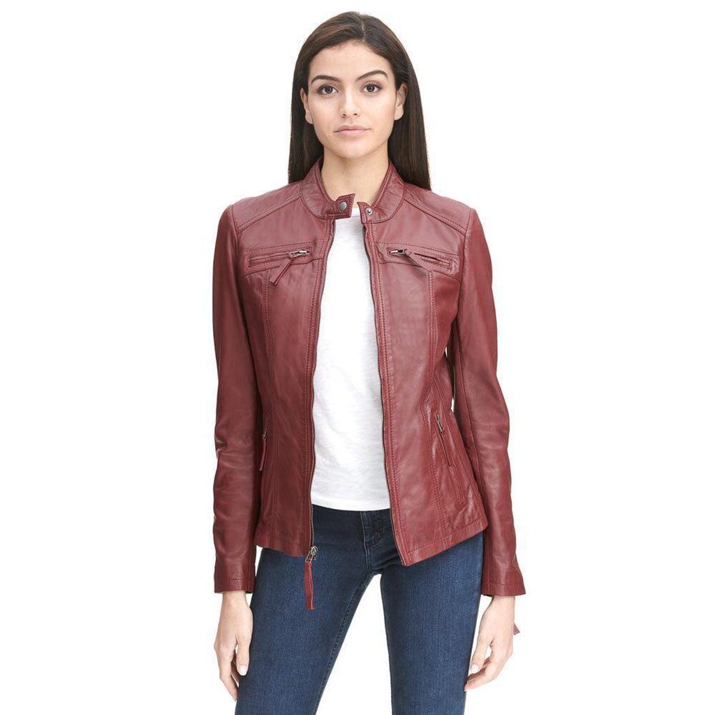 Womens Biker Vintage Leather Jacket