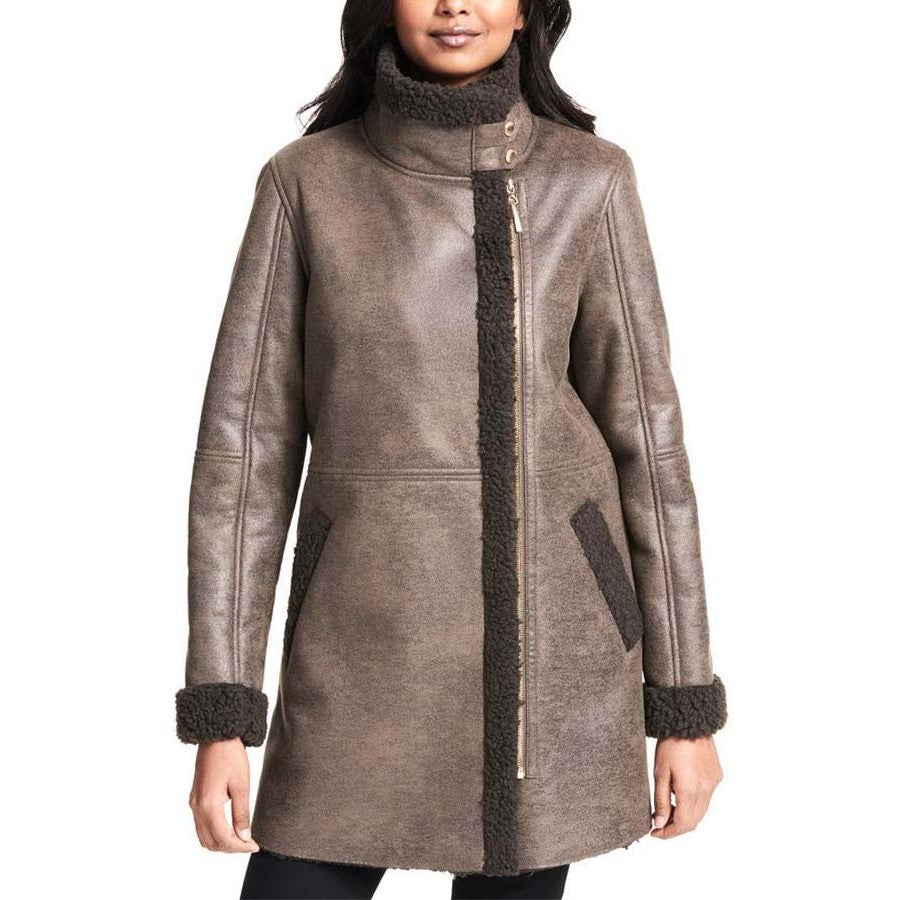 Faux Asymmetrical Zip shearling Coat