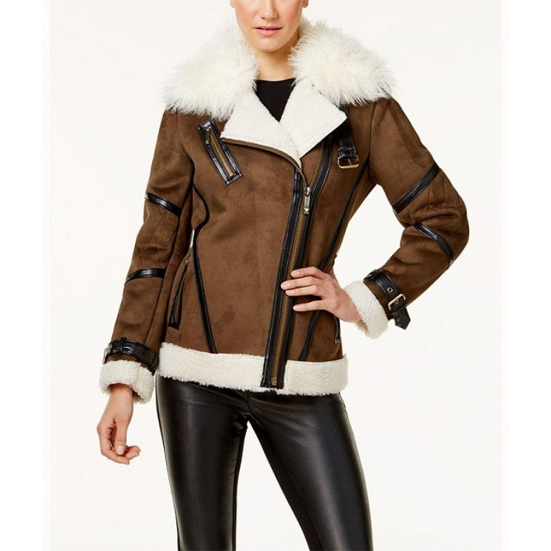Faux Leather Asymmetrical Stylish Shearling Jacket