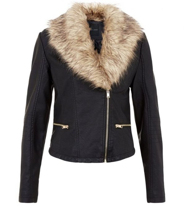 Fur Collar Faux Biker Jacket