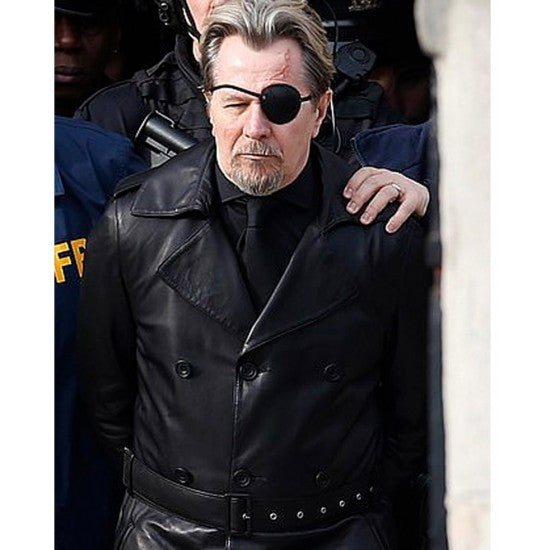 Gary Oldman The Courier Black Leather Coat