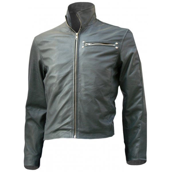 Grey Short Classical Biker Leather Jacket Men