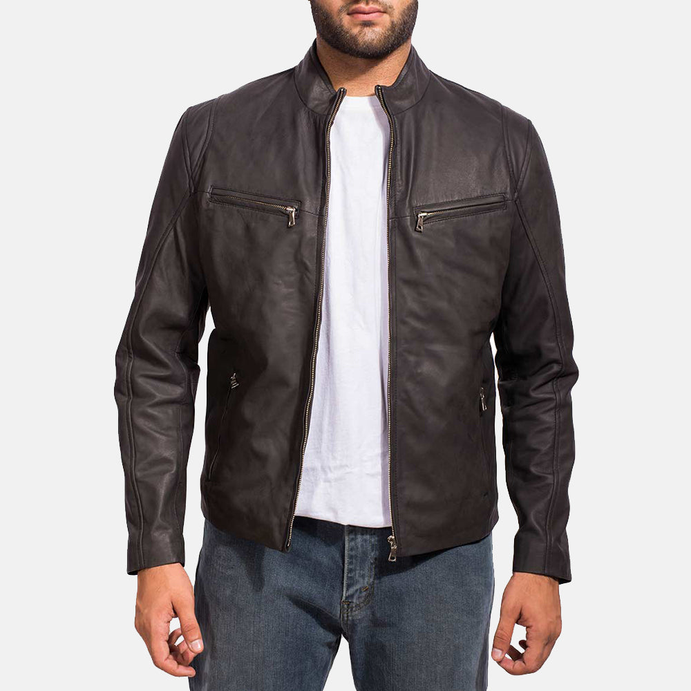Ionic Biker Black Leather Jacket for Mens