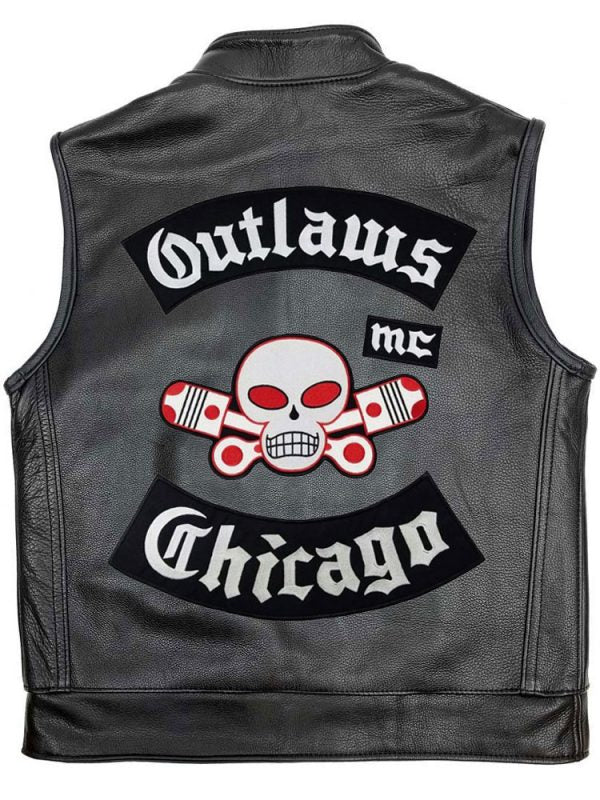 MEN'S OUTLAW CHICAGO MC LEATHER VEST