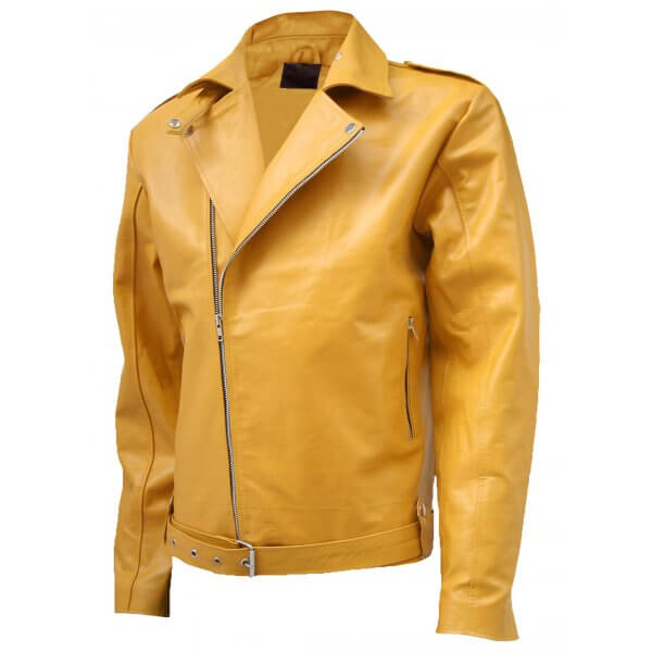 Men Biker Look Yellow Leather Jacket