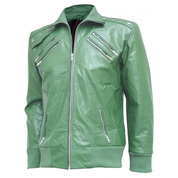 Men Charming Green Leather Bomber Jacket