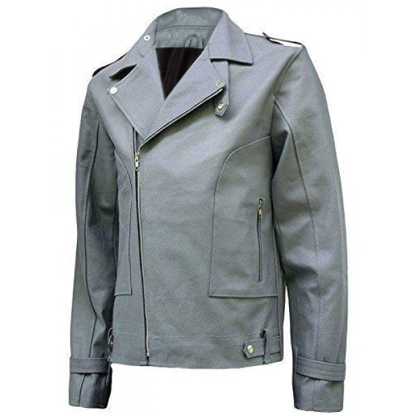 Men Fashion Grey Leather Jacket