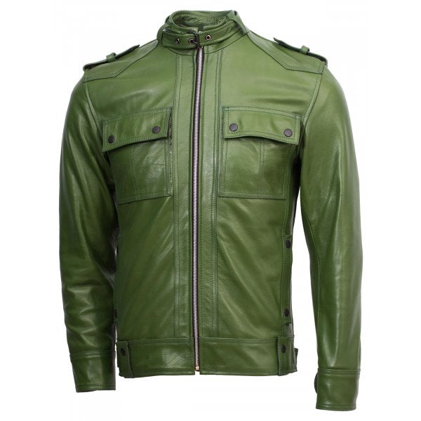 Men Green Biker Slim Fit Jacket