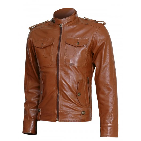 Men Tan Winter wear Leather Jacket