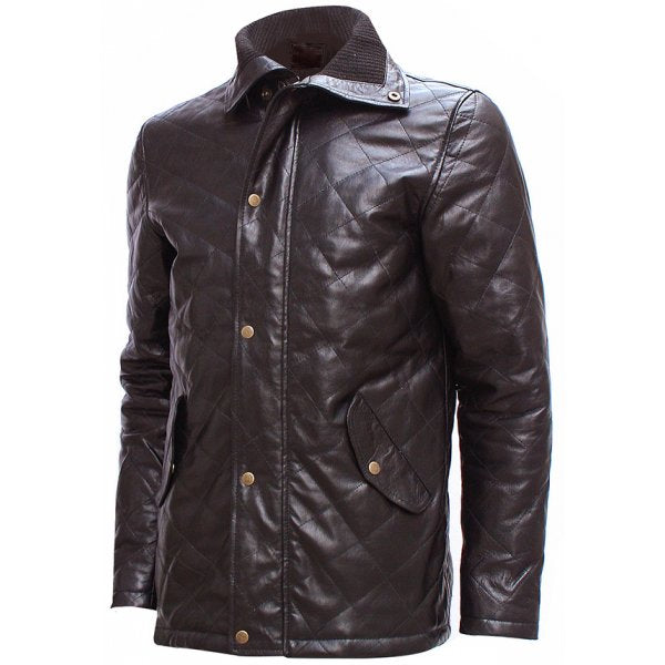 Men Versatile Brown Quilted Leather Jacket
