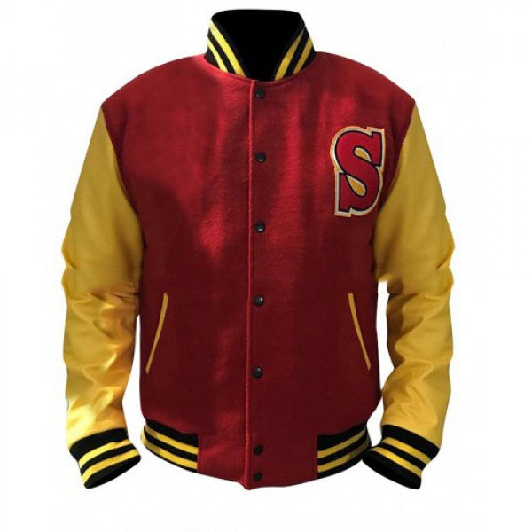 Men's Crows Welling Smallville Clark Varsity Letterman Bomber Woolen Jacket Red and Yellow