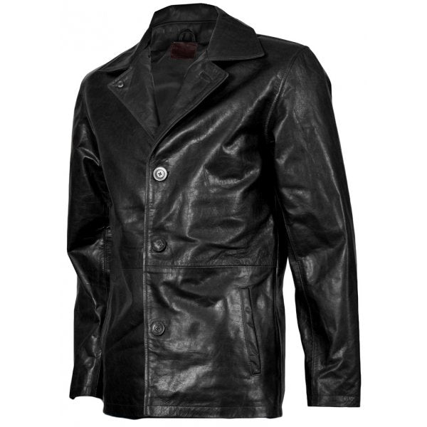 Men's Beautiful 3 Button Black Leather Blazer