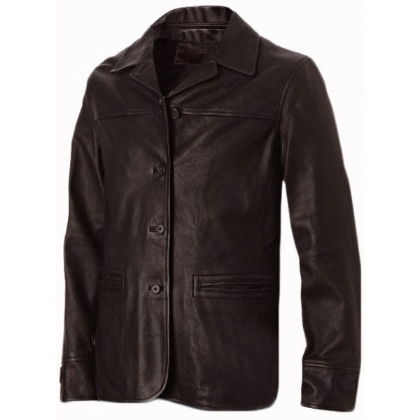Men's Brown 4 Button Leather Coat