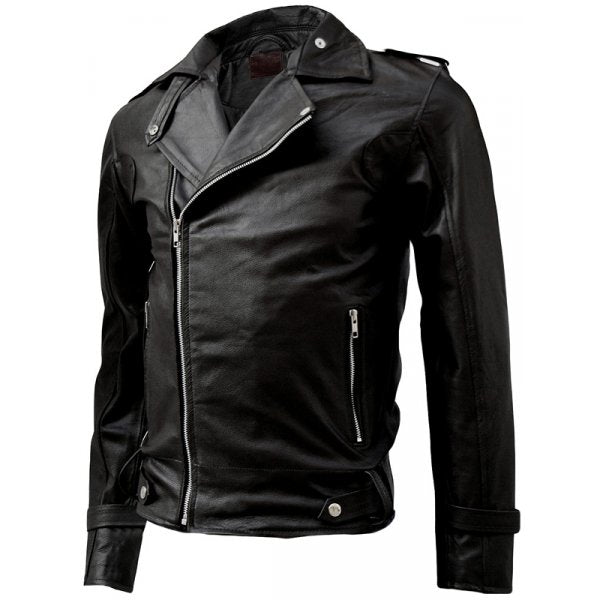 Men's Classy Black Biker Leather Jacket