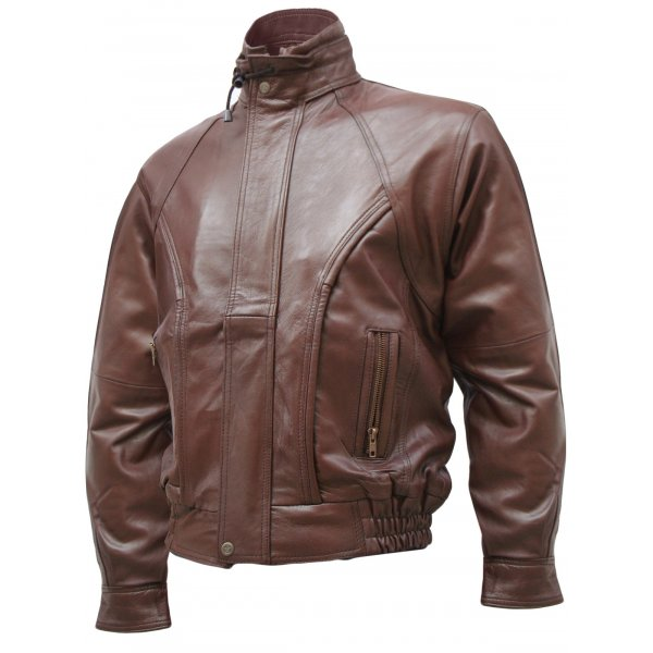 Men's Contemporary Brown Leather Bomber Jacket