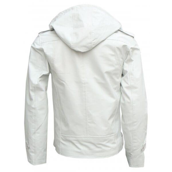 Men's Magnificent White Hooded Leather Jacket