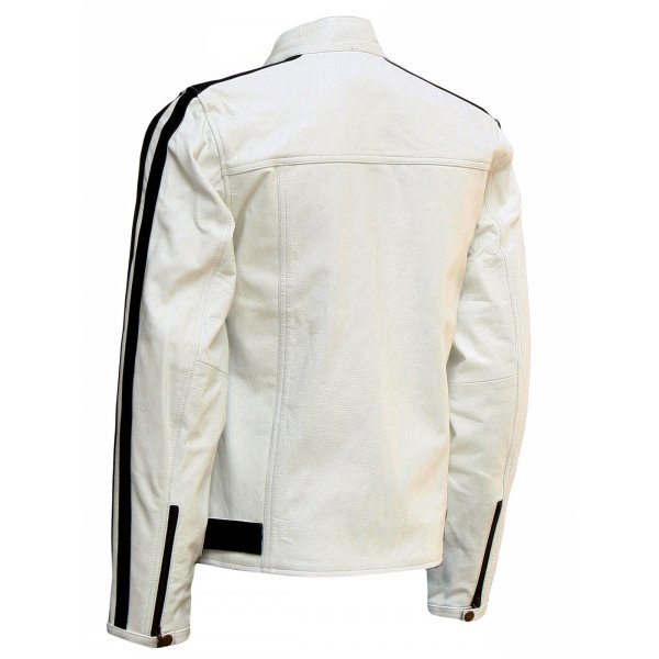 Men's Modern White Leather Jacket