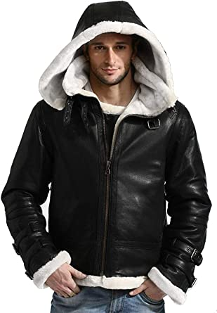 Mens Aviator B3 Flying Pilot Removable Hood Bomber Fur Shearling Sheepskin Leather Jacket