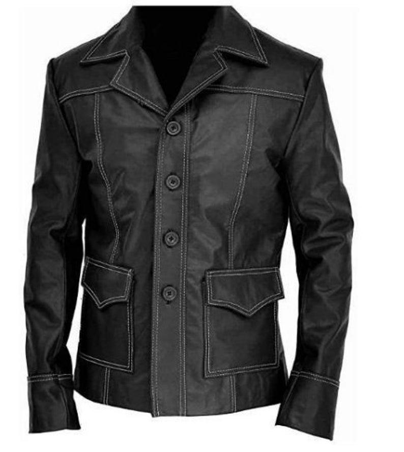 Mens Brando Club Tyler Designer Brad Biker Leather Jacket Coat Blazer