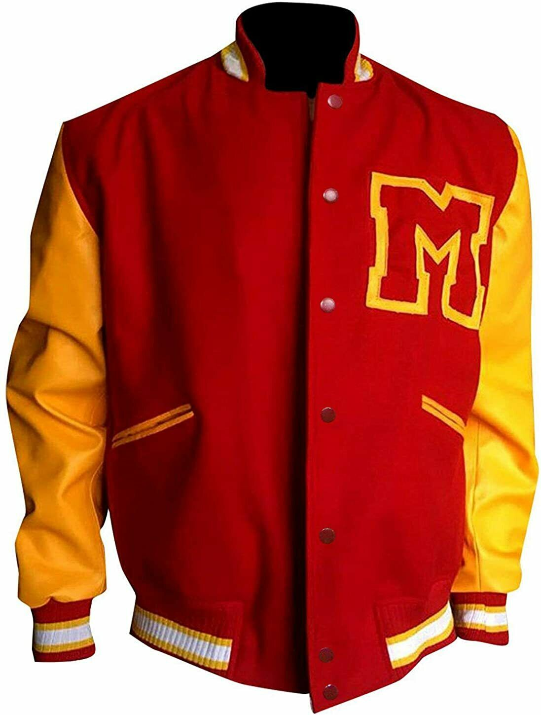 Mens Red & Yellow M Logo Letterman Bomber Varsity Jacket