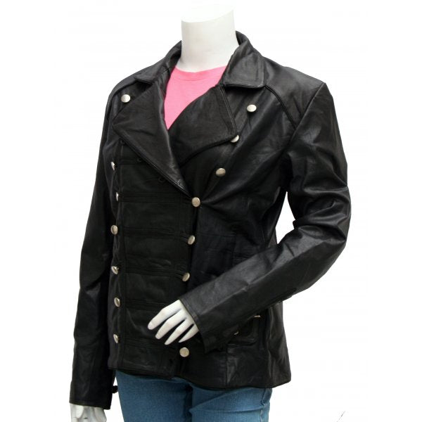 Military Women Black Leather Jacket