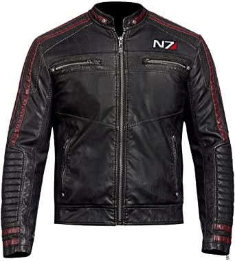 N7 Commander Shepard Mass Effect 3 Stylish Motorcycle Leather Jacket
