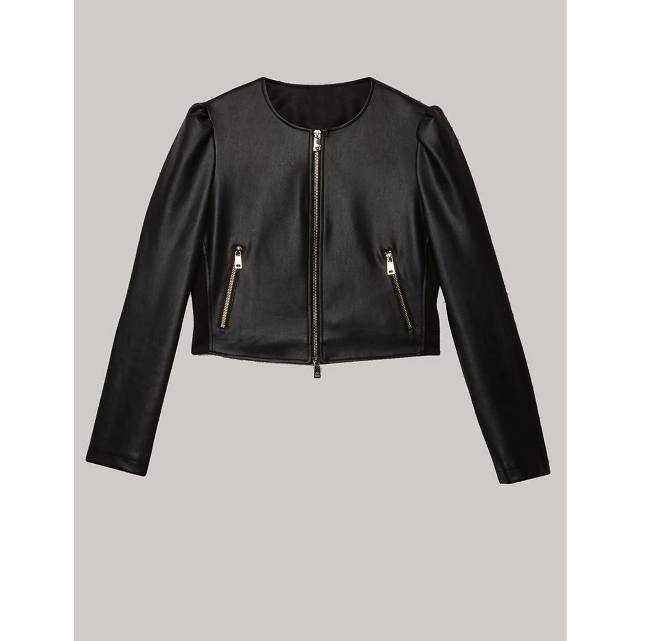 Puffy Sleeves Women's Leather Jacket