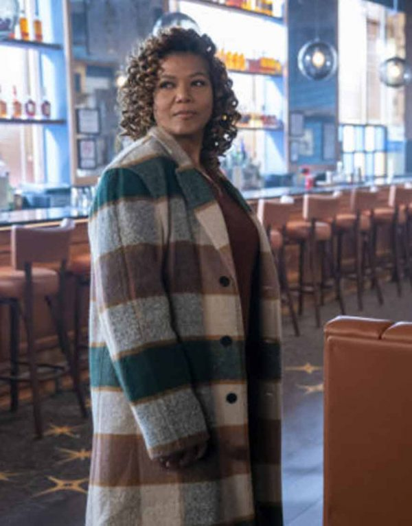 Queen Latifah The Equalizer 2021 Checked Coat