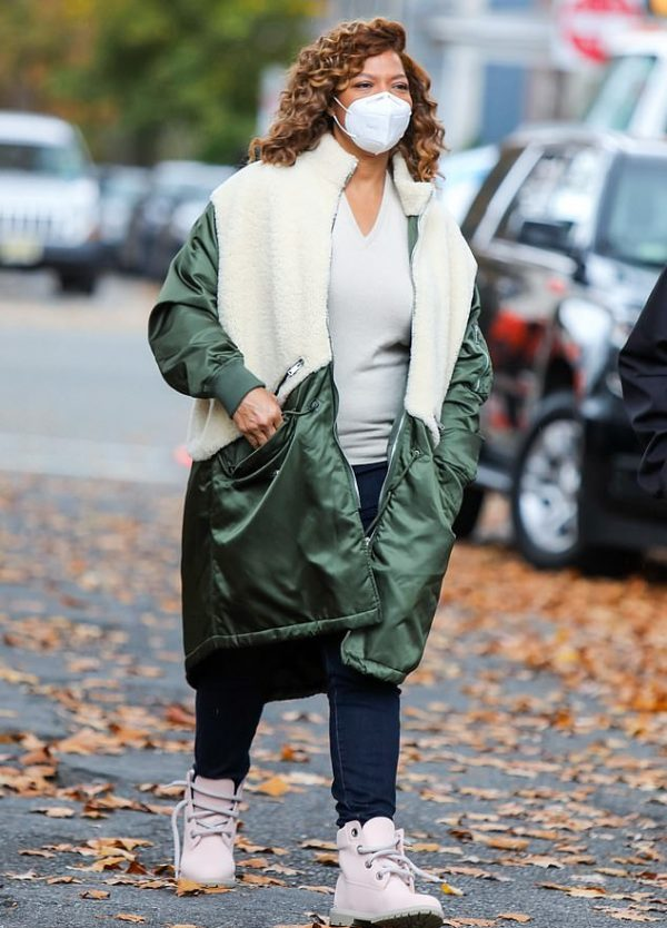 Queen Latifah The Equalizer Green & White Coat