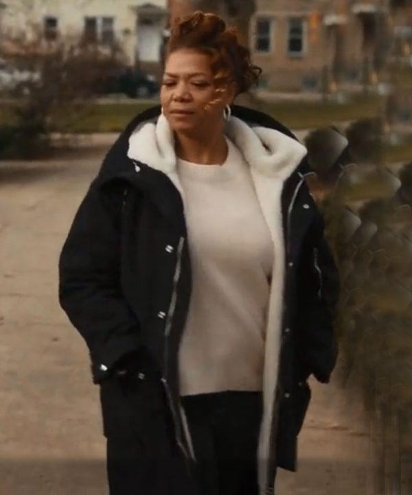 Queen Latifah The Equalizer Shearling Coat