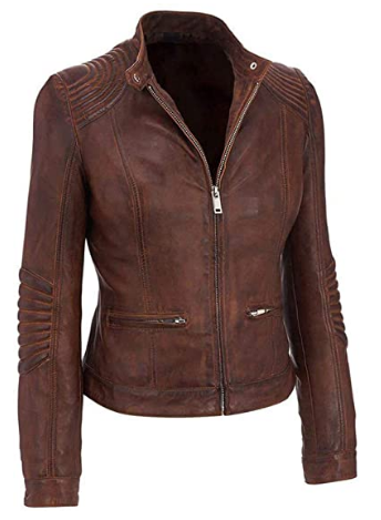 Quilted Cafe Racer Distressed Brown Leather Jacket