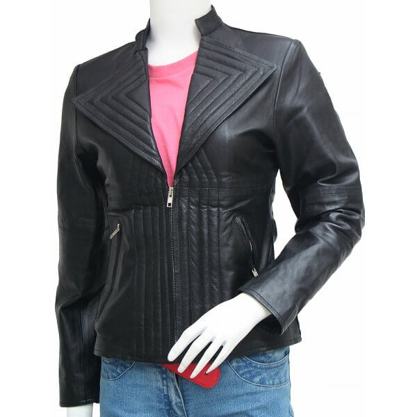 Quilted Black Leather Jacket Women
