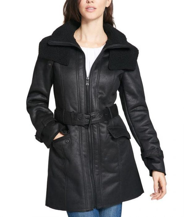 Shearling Duster Mid-Length Trench Black Coat