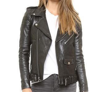 Stripes Women Biker Leather Jackets