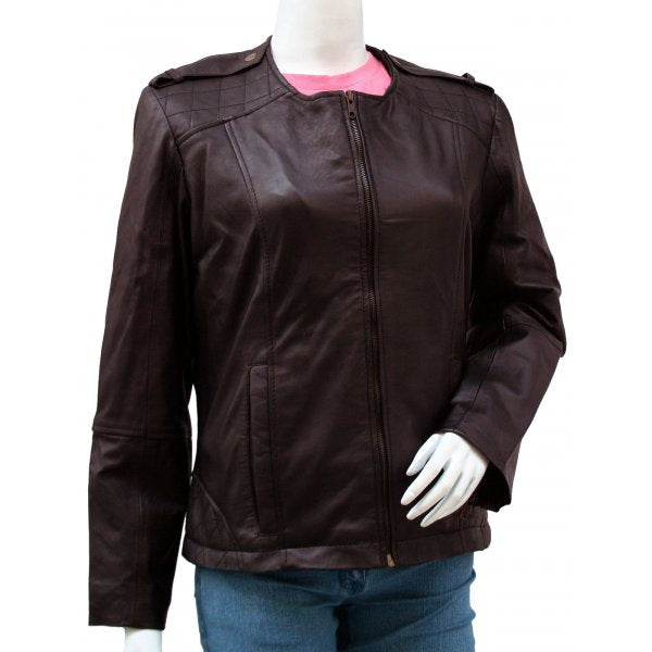 The Collarless Lady Fashion Leather Jacket