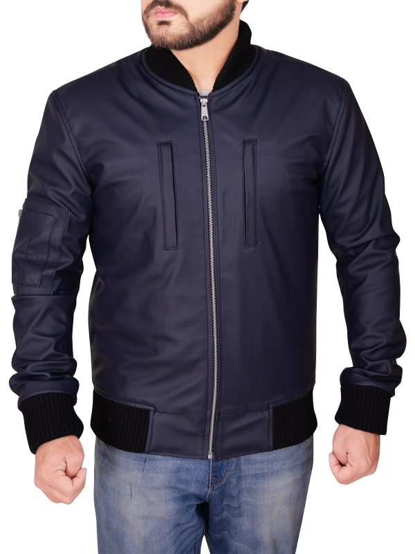 Varsity Navy Blue Leather Jacket