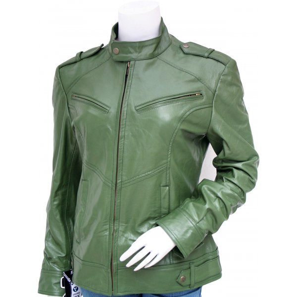 Women Fashion Green Leather Jacket