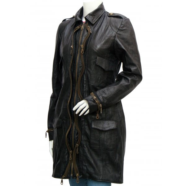 Women Golden Zipper Black Leather Coat