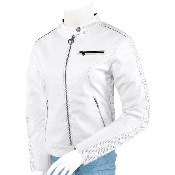 Women White Biker Leather Jacket