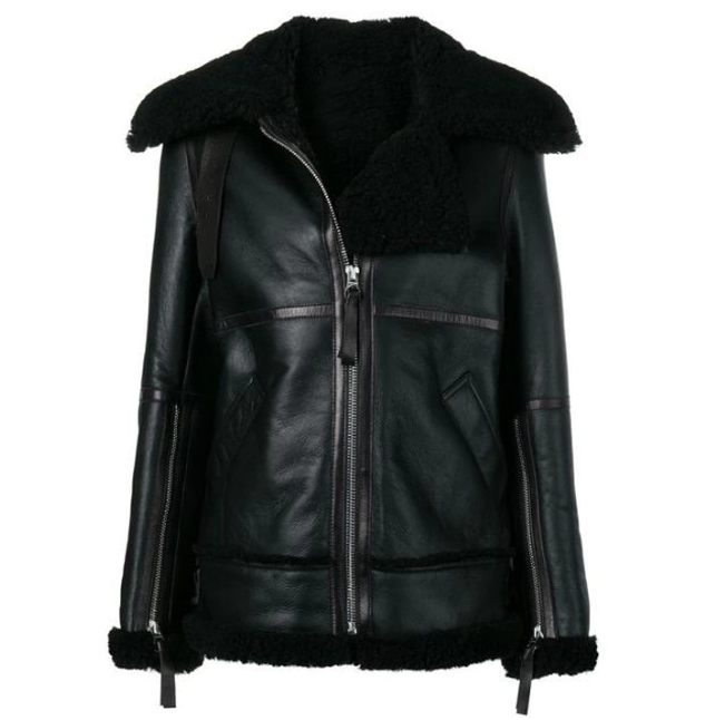 Women's Aviator Shearling Black Jacket