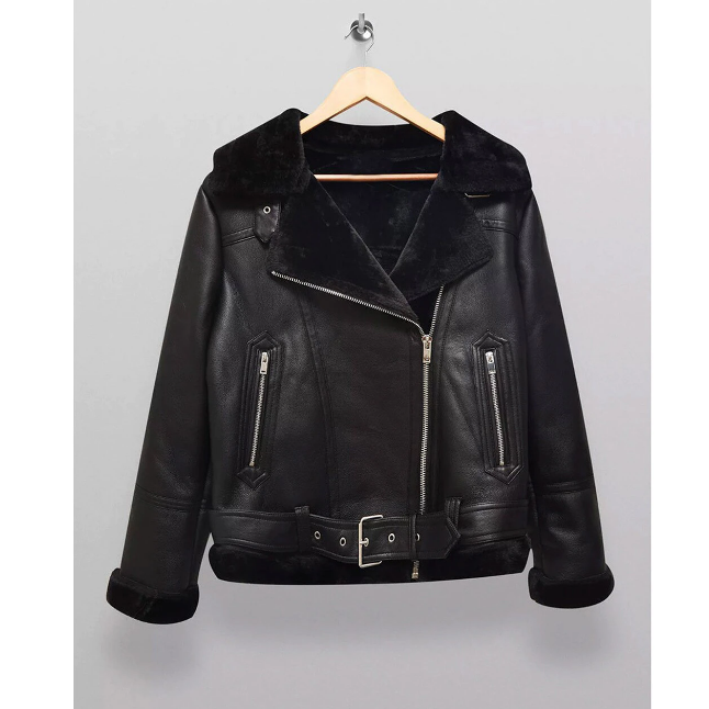 Women's Faux Fur Collar Biker Jacket